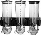 Dispensador de muesli/dispensador de cereales con soporte de pared/dispensador de copos de maíz/dispensador doble y triple para muesli, copos de maíz y cereales para alimentos secos