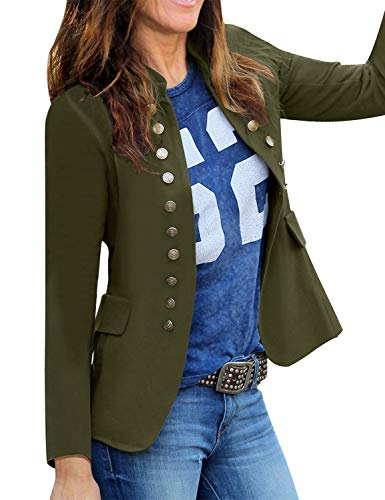 Roskiky Women Casual Solid Jacket Suit Open Front Stand Neck Buttons Work Blazer Army Green Size Medium (Fits UK 12-UK 14)