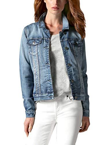 Womens Knit Stretch Blue Denim Jean Jacket