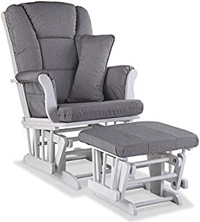 Pemberly Row Custom Glider,Ottoman and Lumbar Pillow in White and Slate Gray