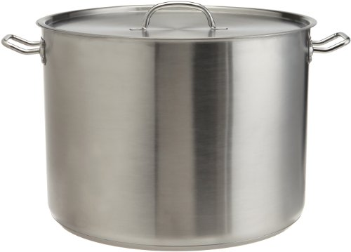 ExcelSteel Heavy Duty Stainless Steel Stock Pot with Lid, 35 quarts, Silver