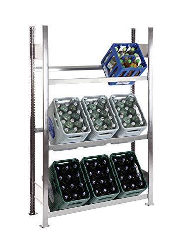 SCHULTE Getränkekisten-Grundregal 1800 x 1060 x 336 mm, verzinkt, 3 Ebenen, für bis zu 9 Kästen; MADE IN GERMANY