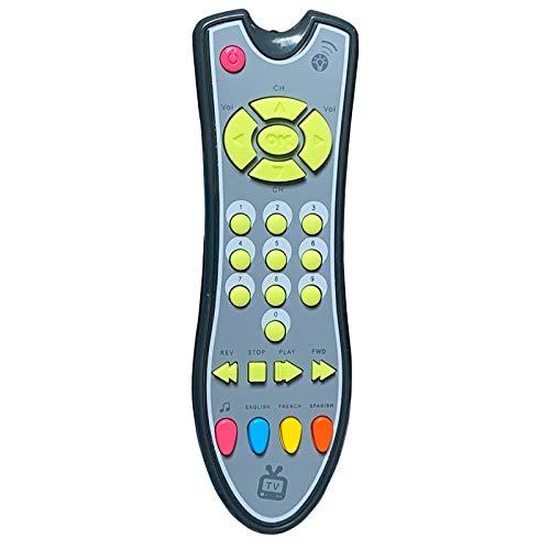 AILOVA Giocattolo Telecomando TV, Giocattolo Telecomando Apprendimento Prima Educazione Musicale, Bambini dai 3 Mesi in su Bambini Piccoli (Grigio)