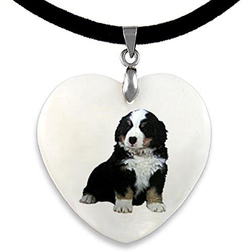 Timest - Berner Sennenhund - Herz Perlmutt Anhänger mit Samt Kette PP0031