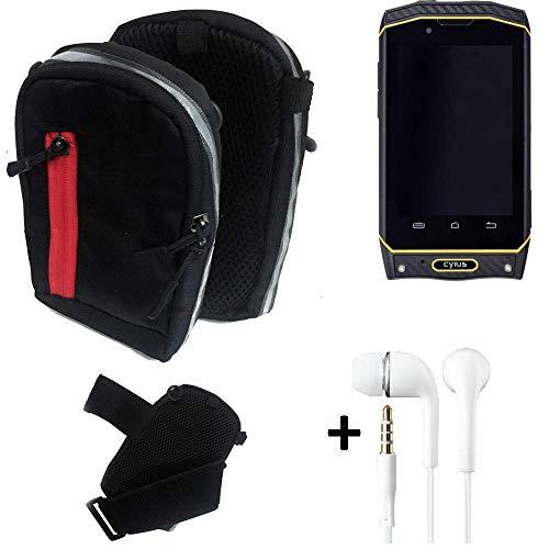 K-S-Trade Outdoor Gürteltasche Holster Umhängetasche + Kopfhörer Für Cyrus CS 19 Schwarz Handytasche Hülle Travelbag Schutzhülle Handyhülle