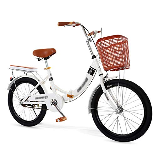 Men and Women Folding Bicycle, Light Work Variable Speed Double Disc Brakes City Retro Bike with Rear Lights and Car Basket(20/22/24 Inch)