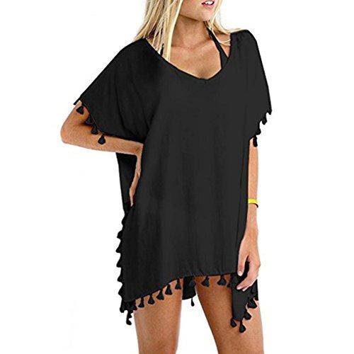 luoluoluo Vestito Donna Copriscarpe per la Spiaggia da Donna in Cotone Pom Pom Trim,Abito da Spiaggia (A)