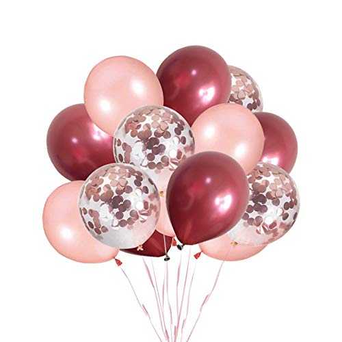 Ohighing 50 Stück Luftballons Weinrot Rose Gold Ballons mit Rosegold Konfetti Helium Ballons für Baby Shower Mädchen Kinder Geburtstag Party Hochzeit Deko (ca.30cm)