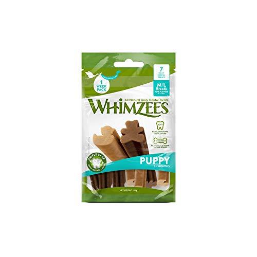 Whimzees Puppy, natürliche getreidefreie Zahnpflegesnacks für Welpen, Kaustangen für Hunde, M/L - 7 Stück, 105 g