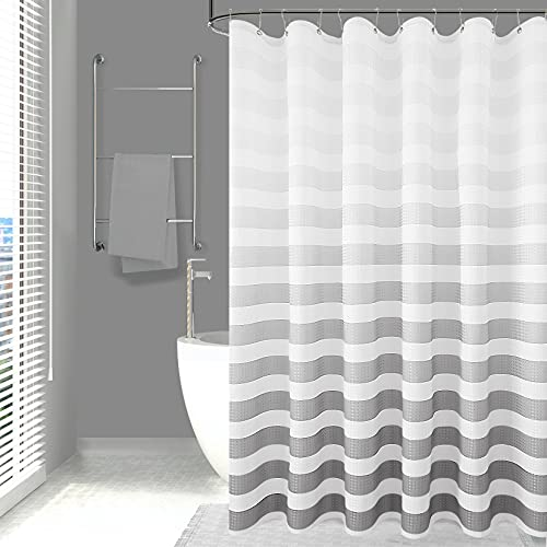 Textured Shower Curtain, Ombre Stripe Polyester Fabric Shower Curtain Set with 12 Hooks, Decorative Bath Curtain Waterproof Shower Curtain Liner, Hotel Quality, 72 x 72 Inches, Silver Gradient