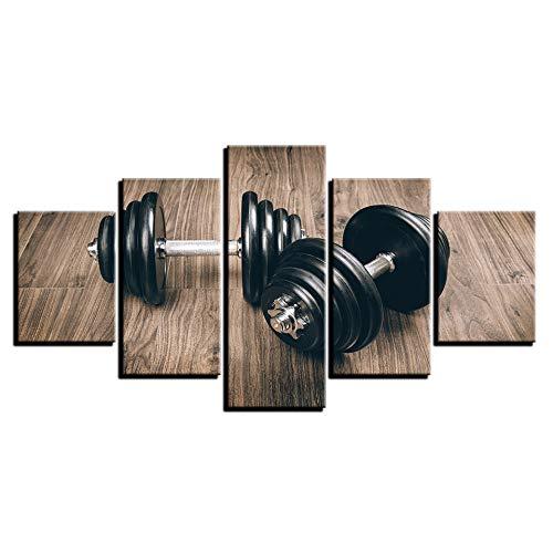 MURAEDLS Beeld op Doek Aangepaste Print Art 5 Onderdelen voor Woonkamer Wandfoto - Fitness Gym Sport Dumbbells 150 * 80 cm (Frameless)