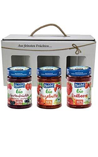 Geschenk/Geschenkset/Geschenkbox Bio-Fruchtaufstriche, 3 x 225/210 g (Hagebutte/Erdbeere/Gartenfrüchte)