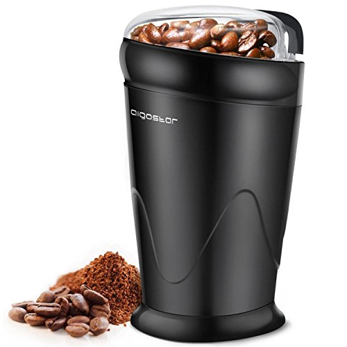 Aigostar Breath 30CFR Compact coffee grinder with spices, seeds or grains capacity 60 gr stainless steel blades with antiwear blades BPA free Exclusive design
