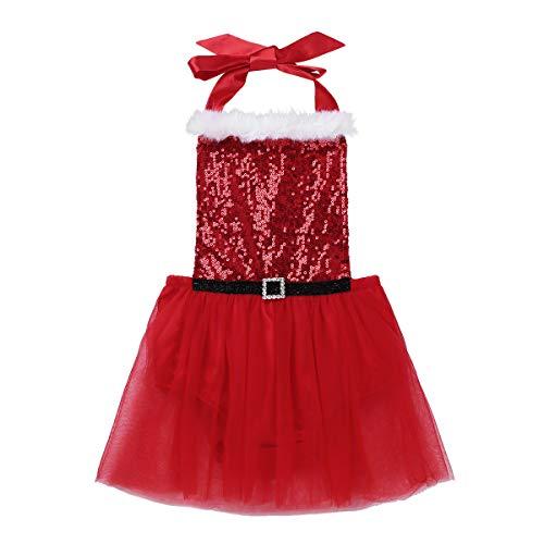 Agoky Disfraz de Mamá Noel para Bebé Niña Vestido Rojo Princesa Mameluco Lentejuelas Traje Navideño con Falda Vestido Navidad Nochebuena Rojo 12-18 Meses