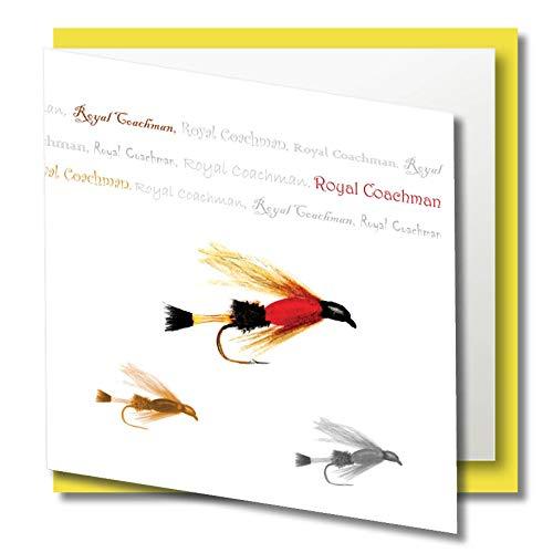 Einzigartige künstlerische Grußkarte, quadratisch, 140 mm – Royal Coachman Fly – Flyfishing