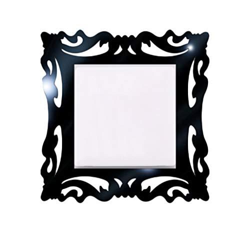 Janly Clearance Sale 1 pegatina para interruptor, para decoración del hogar, espejo de pared, marcos de fotos para interruptor de tienda, decoración del hogar para día de Pascua (negro)