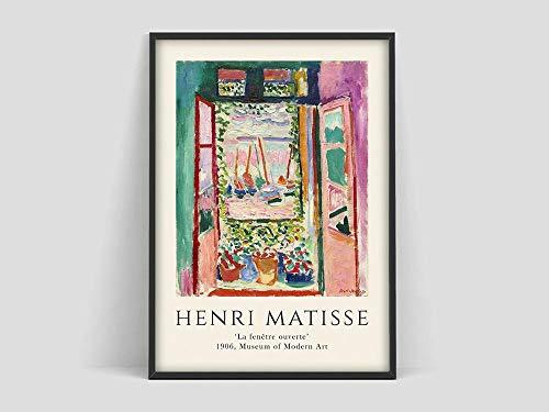 Henri Matisse Das offene Fenster Poster, Matisse Art Print Poster, Matisse Fishbowl Poster, rahmenloses Leinwandbild S 60x90cm