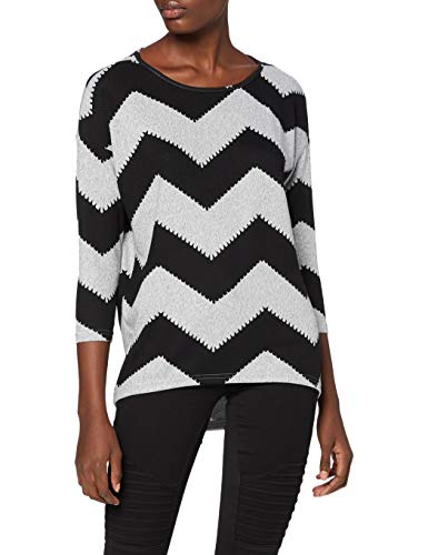 ONLY Damen onlELCOS 4/5 AOP TOP JRS NOOS T-Shirt, Mehrfarbig (Light Grey Melange AOP:w. Black Zigzag), 44 (Herstellergröße: XX-Large)