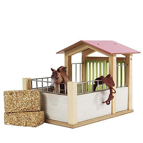 Kids Globe Pferdestall (Maßstab 1:24, Maße 14x21,5x16 cm, Pferdebox ohne Pferde Figuren und Zubehör) 610206