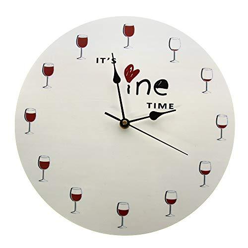 XINTANG Relojes De Pared Grandes Es La Hora del Vino Reloj De Pared Impreso Alcohol Copa De Vino Decoración del Hogar Vino Tinto Reloj De Pared Licor Vino Catador Bebedor Amante Regalo