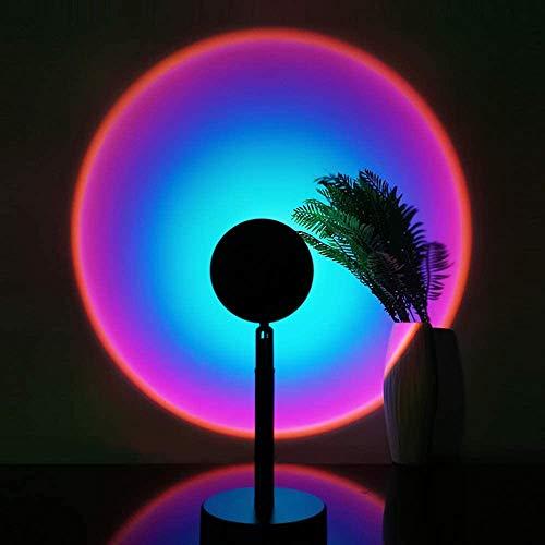レインボーライト RUNDODO 夕日ライト サンセットライト 虹ランプ 撮影ライト サークルライト スタンドLED アート感 雰囲気 間接照明 ムードライト (虹色・ブルーパープル)