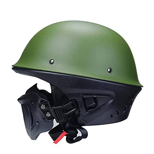 LIULIU Auriculares de Motocicleta de Casco de Casco de Motocicleta, mascarilla multifunción extraíble del Casco Retro, Casco de Bicicleta Unisex,Verde,M