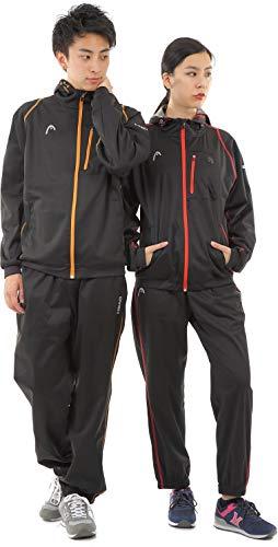 HEAD(ヘッド) サウナスーツ トレーニングウェア 大きいサイズ メンズ レディース 上下セット フード付き 発汗力抜群 燃焼サポート | 5Lサイズ ブラック/レッド