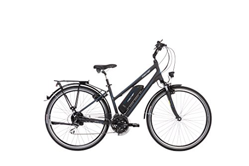 Fischer Damen - E-Bike Trekking ETD 1801, anthrazit matt, 28 Zoll, RH 44 cm, Hinterradmotor 25 Nm, 36 V Akku