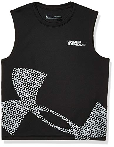 Under Armour Boys' Tech Exploded Logo Tank Top, Black (001)/Mod Gray, Youth X-Small