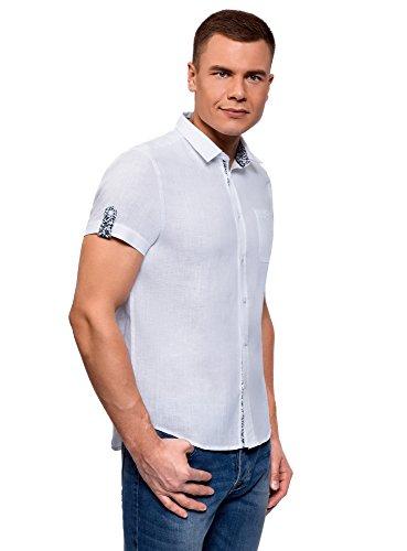 oodji Ultra Herren Leinenhemd mit Brusttasche, Weiß, Herstellergröße 44 (Kragenweite 44 cm)/ DE 56 / XL