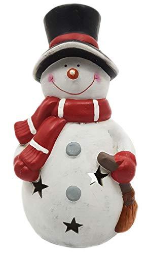 Wichtelstube-Kollektion XXL Deko Figur Schneemann mit Besen 30cm Windlicht Weihnachtsfigur Keramikfigur Weihnachten