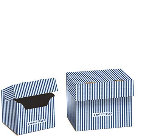 7 Papiertiger Karteikästen A7 Karton Design weißblau faltbar passend für bis zu 300 Karteikarten