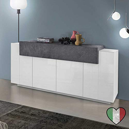 Stilprojectstore Credenza Moderna 4 Ante 1 cassetto - Corona - Made in Italy (Bianco Lucido - Grigio Piombo)