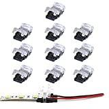 VIPMOON Pack de 10 unidades tira de LED Conector no impermeable. Tira de LED de conexión rápida sin pelar el cable,2 pin 10mm Single Color 5050