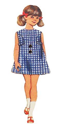 フランス製 木製ボタン 2つ穴 (青いチェックの女の子) アトリエ・ボヌール・ドゥ・ジュール ABDJ242
