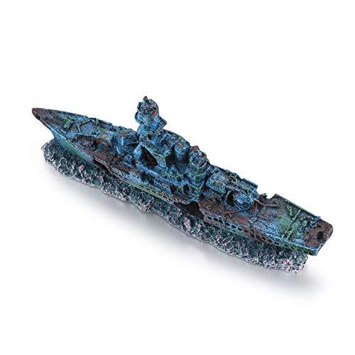 Does not apply Aquarium Fishing Boat Decoration, Artificial Fish Tank Submarine Ornament, Resin Decorative Ship Boat Landscape Accessories