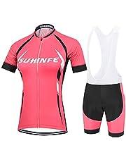 Maillot Ciclismo Mujer Verano, Respirable equipacion Ciclismo y Culotte Tira Reflectante y Bolsillos Traseros, MTB
