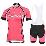 Maillot Ciclismo Mujer Verano, Respirable equipacion Ciclismo y Culotte Tira Reflectante y Bolsillos Traseros, MTB, Rosa, L