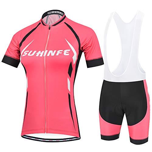 Maillot Ciclismo Mujer Verano, Respirable equipacion Ciclismo y Culotte Tira Reflectante y Bolsillos Traseros, MTB, Rosa, S