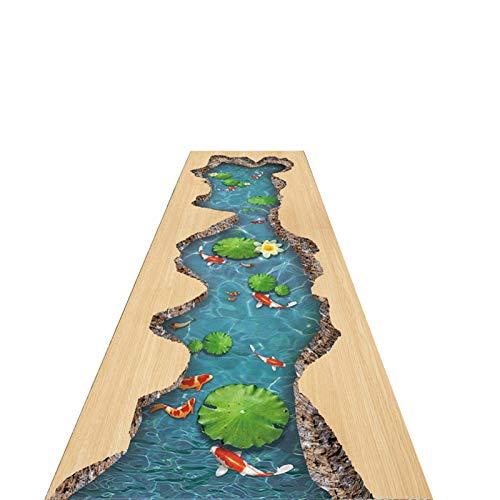 LSM Alfombra Pasillo Alfombras de Estilo Americano, Alfombrillas Antideslizantes para Pasillos, Alfombras de Entrada con Patrón de Pez 3D Creek, 60/80/100/120 cm de Ancho, para Vestíbulo de Ascensor