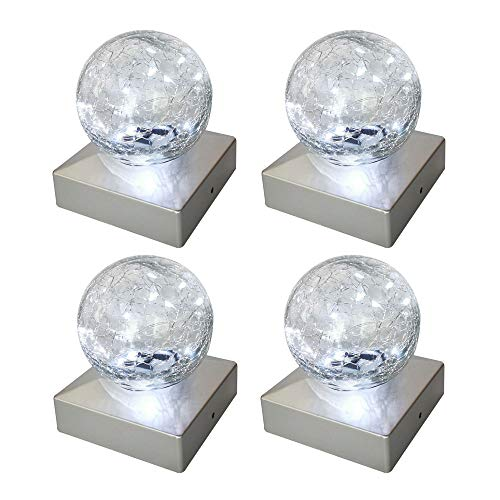 Solar Post Lights - Outdoor Post Cap Light for Fence Deck or Patio Garden Decoration- Solar Powered Gazing Ball Caps, LED Lighting, Lamp Fits 4x4 - White 4 Pack