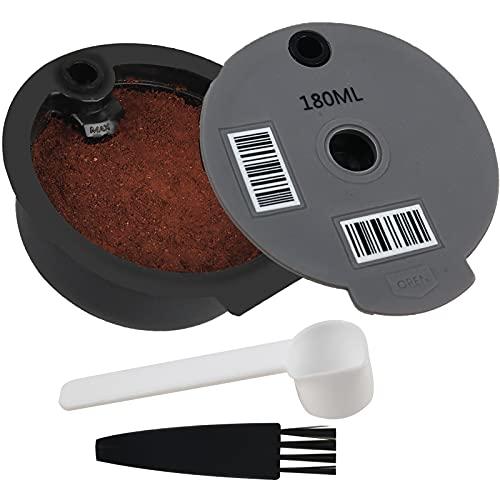 Cápsulas de café reutilizables, compatibles con máquinas Tassimo Bosch-s, filtro de café rellenable, cápsulas de café con código de barras legible (180 ml)