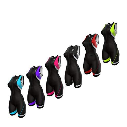 Sparx Women's Triathlon Suit Tri Race Suit Women Trisuit Compression Running Swimming Cycling Skinsuit (Black/Pink, Large)