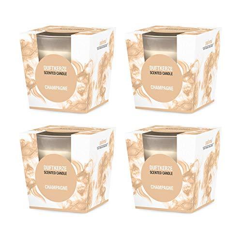 Pajoma Geurkaars set van 4 Champagne in gesatineerd glas, 124 g, brandduur: 25 uur, incl. elegante geschenkverpakking