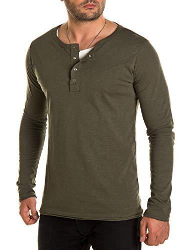 WOTEGA T-Shirt Herren 2-in-1 Langarmshirt Longshirt Pete - Khaki Tshirts Maenner Longsleeve Oliv Shirt Long Sleeve, Grün (Grape Leaf 190511), XS