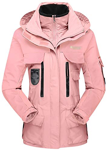 Veste d'extérieur Casual Warm Jacket 3-en-1 Coupe-Vent Alpinisme Wild Riding Veste imperméable Randonnée Soft Shell Veste à Capuche Conception Multi-Poches-Lightpink-M
