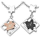 Schmuck-Pur Partner-Ketten mit Laser-Gravur Puzzle Freundschaftsanhänger Edelstahl mit Kristall 2 Halsketten 45/50 cm