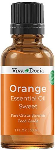 Viva Doria 100% Pure Sweet Orange Essential Oil, Undiluted, Food Grade, High Quality Southeast - USA Orange Oil, 30 mL (1 Fl Oz)