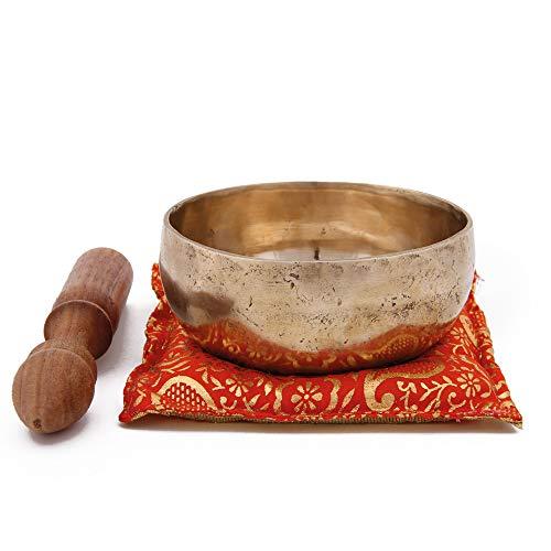 Juego de cuencos tibetanos HM – Talla 10, aprox. 950-1150 g, martillado a mano, caja con sonajero de madera y piel y cojín.