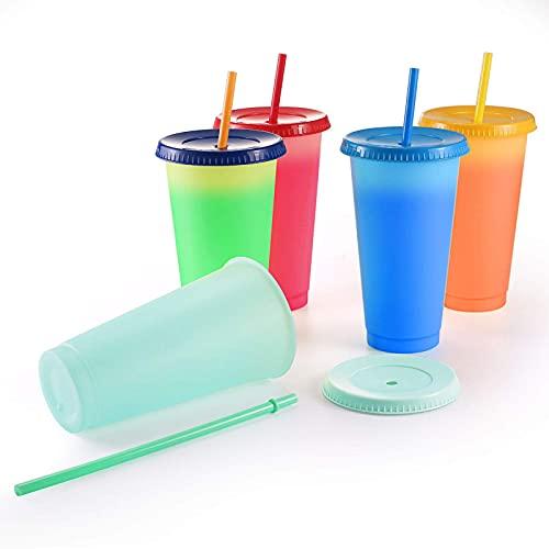 Operalie Vasos Que cambian de Color, Vasos Que cambian de Color Vasos de café de Verano Reutilizables con Tapas y pajitas Vasos de Fiesta 710 ml 5 Piezas para Adultos, Vasos de café Helado, sin BPA